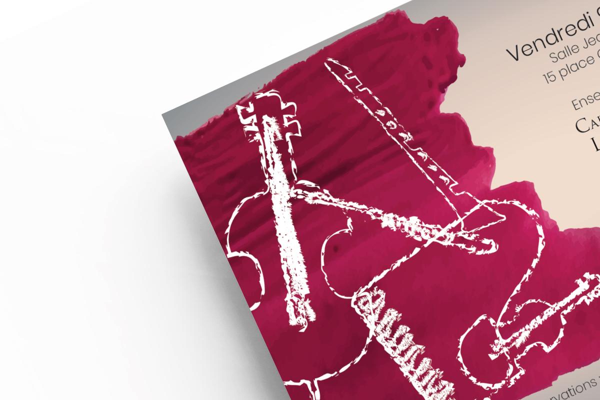 Webdesigner Graphiste Freelance Tours création de flyer A5 A6 concert piano flûte clarinette