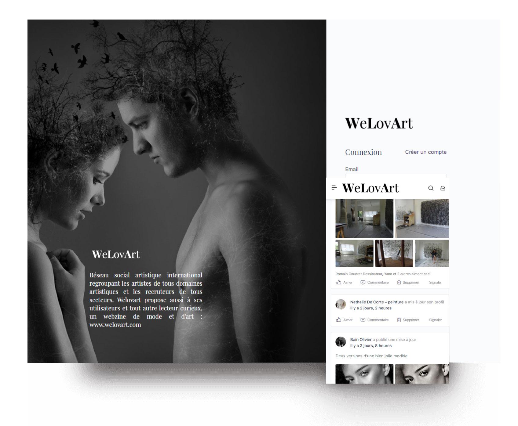 Création réseau social pour mannequins artistes WeLovArt BuddyBoss français anglais plateforme emploi événements
