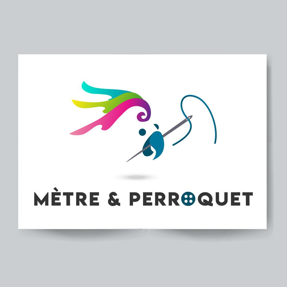 Création logo couturière Mètre et Perroquet